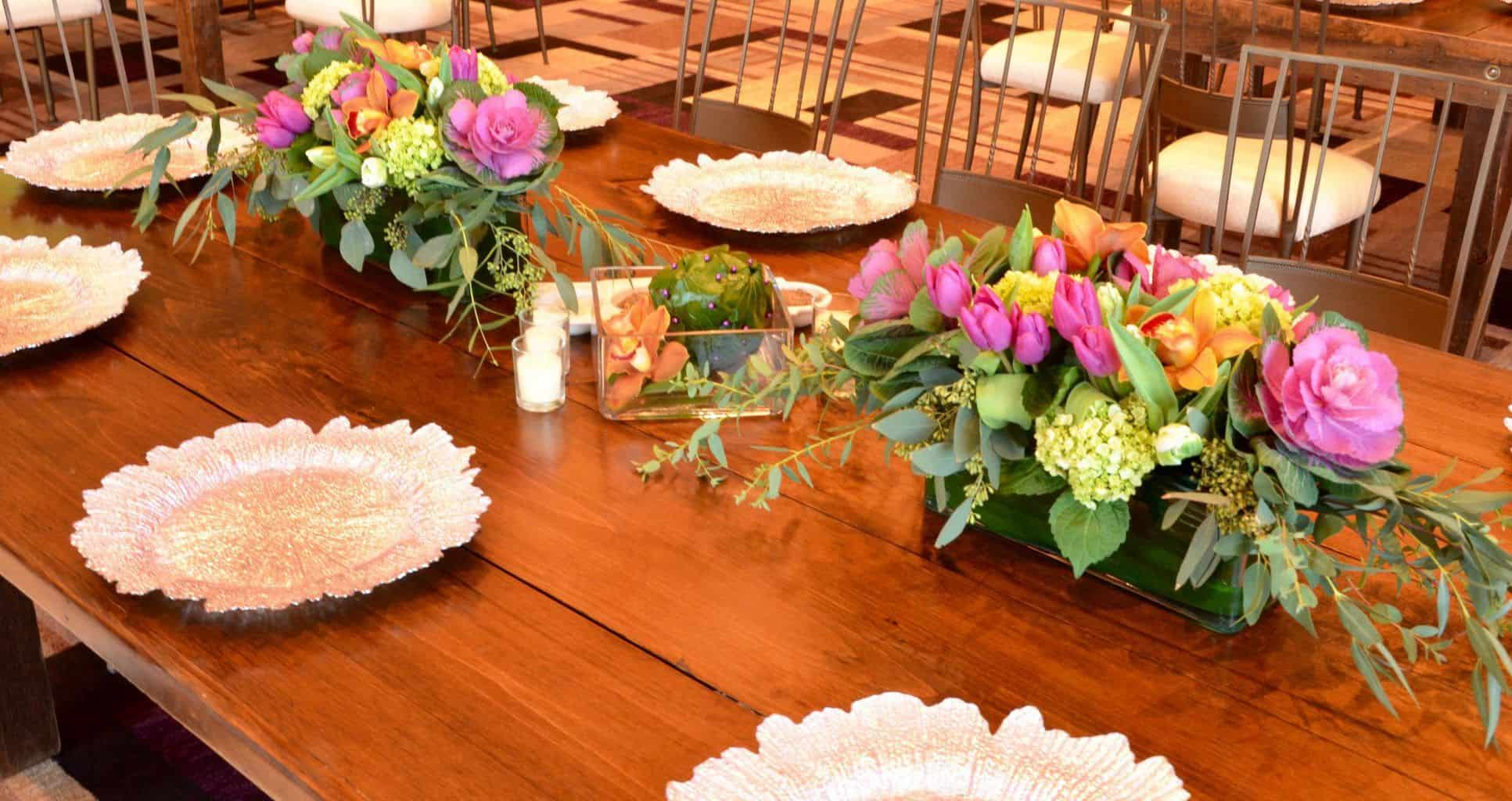 Spring centerpieces for a farm table